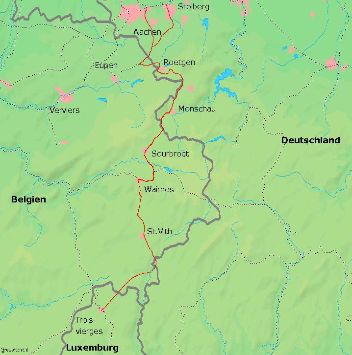 Bei Roetgen und Monschau ist deutlich zu erkennen, wie die (belgische) Strecke durch Deutschland verläuft und so mehrere (deutsche) Exklaven schafft.